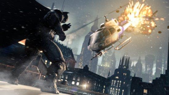 Даже Бэтмену не спрятаться от падающих вертолетов!