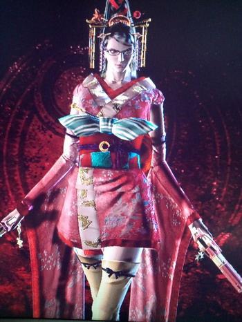Главная героиня Bayonetta в кимоно
