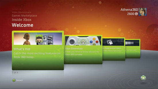 Меню Xbox 360