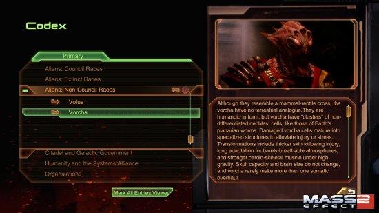 Скриншот интерфейса Кодекса из игры Mass Effect 2