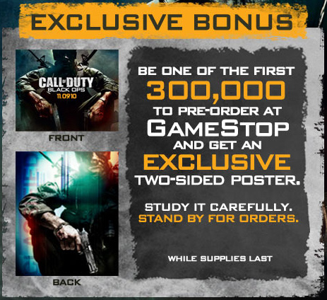 Бонус за предзаказ Black Ops в GameStop