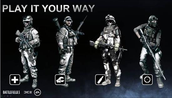 Классы бойцов в Battlefield 3