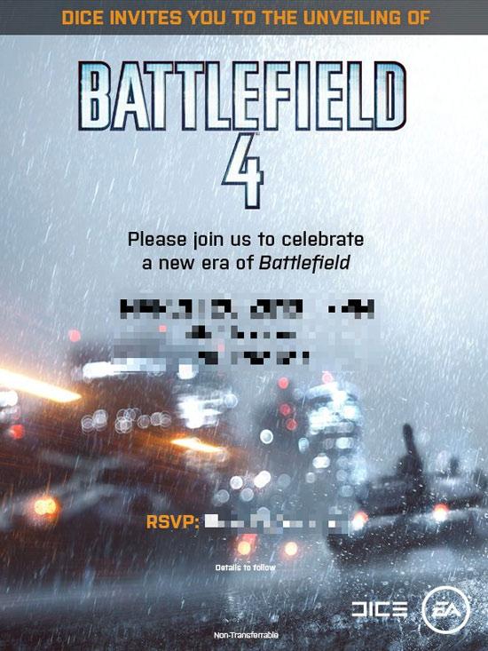 Приглашение на презентацию Battlefield 4