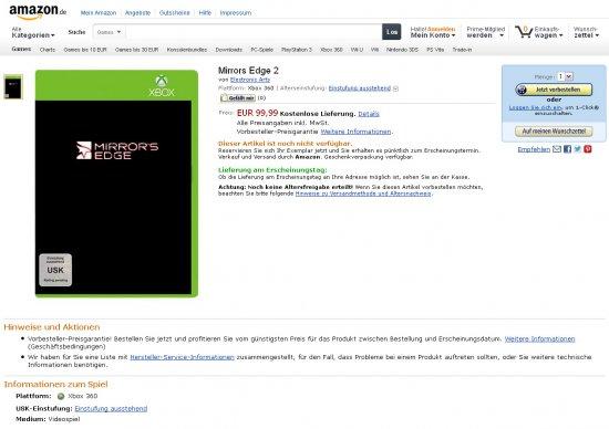 Mirror's Edge 2 засветилась на германском Амазоне