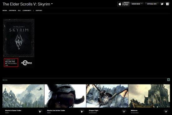 Skyrim выйдет на PS4 и Xbox One – значится на официальном сайте