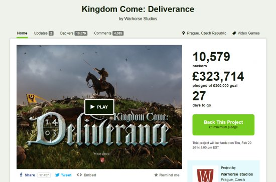 Kingdom Come: Deliverance успешно профинансирован на Кикстартере