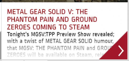 Metal Gear Solid V: The Phantom Pain выйдет на ПК