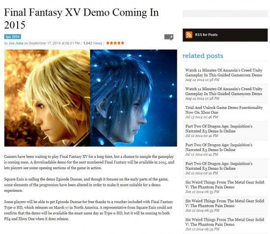 Демо Final Fantasy XV в следующем году?