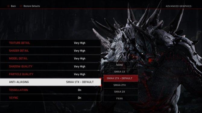 Экран настройки качества графики в Evolve