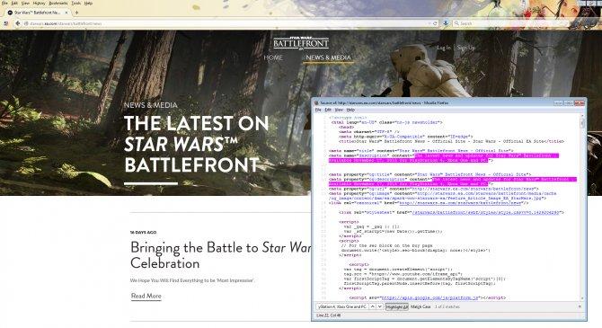 Дата релиза, находящаяся в описании страницы новостей официального сайта Star Wars Battlefront.