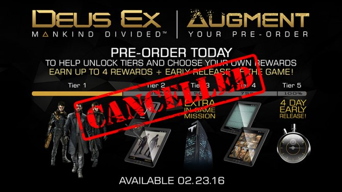 Программа «Augment your pre-order» для Mankind Divided отменена