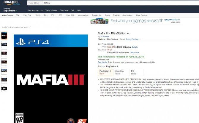 Дата релиза Mafia III