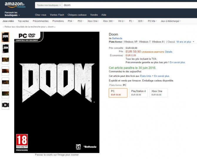 Doom выйдет в июне 2016-го, если верить Amazon France