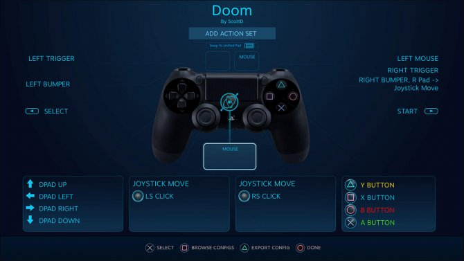 Грядущий пользовательский интерфейс настройки DualShock 4 в Steam.