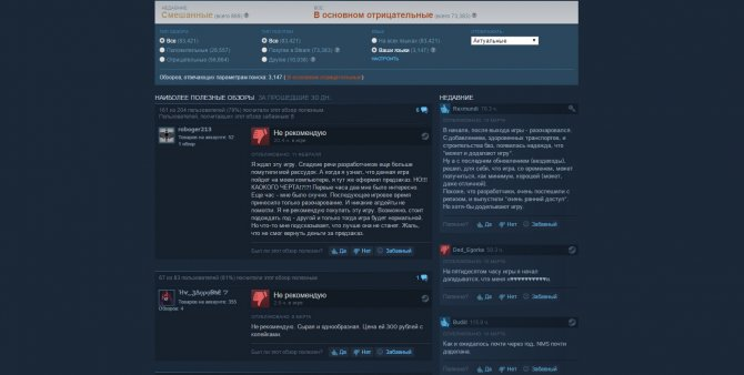Steam будет учитывать в средний балл игре только отзывы покупателей