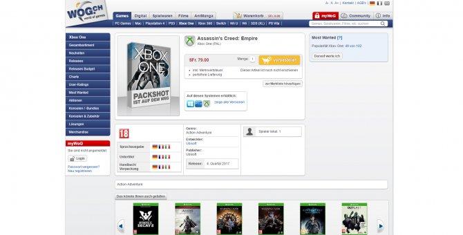 Assassin's Creed: Empire засветилась в швейцарском магазине