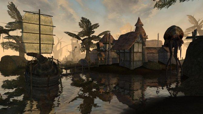 Morrowind деревня, вода
