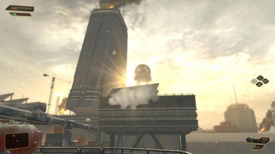 Снежный и светлый пейзаж – уникальный кадр для серии Deus Ex.