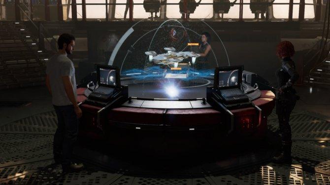 Вот за этим столом выбираются миссии и происходит переход из мирной локации на задание.